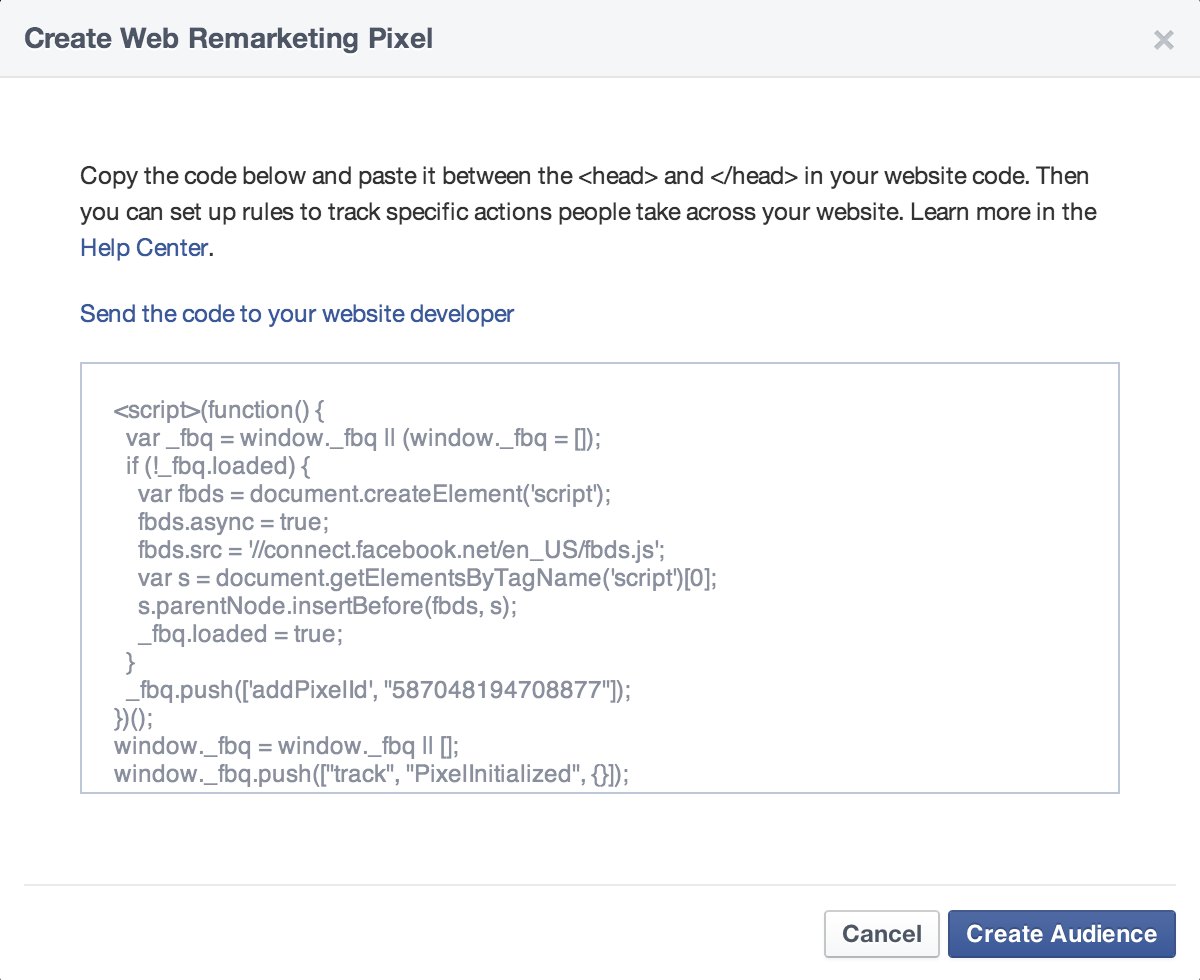 create a web remarketing pixel