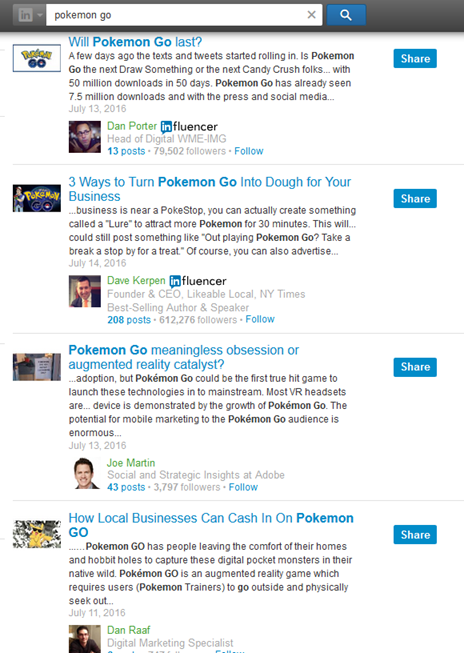 pokemon go on linkedin