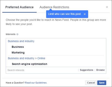 preffered audience targeting options